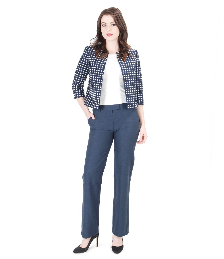 Embossed cotton cloth with dots office women outfit