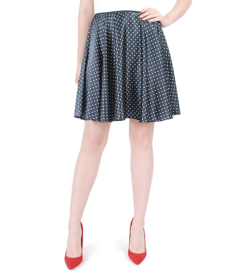 Printed satin flared skirt
