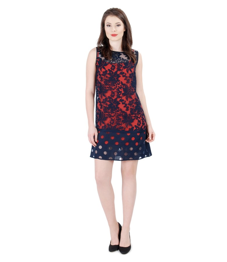 Brocade organza dress with viscose motifs and flax