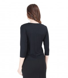 Elastic jersey blouse with belt