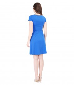 Elastic knitwear dress with V decolletage