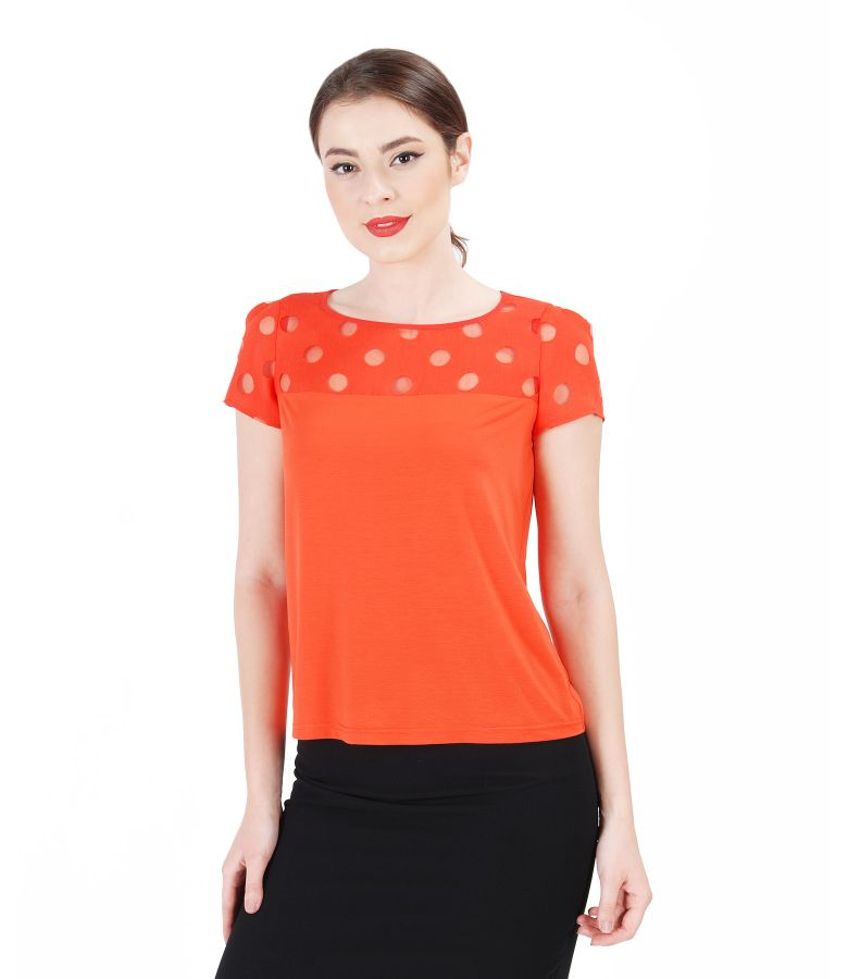 Elastic jersey blouse with brocaded trim