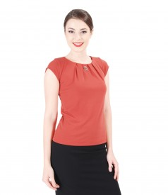 Jersey blouse with folds and trim