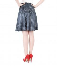 Printed satin flared skirt