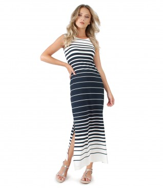 Printed with stripes jersey casual dress