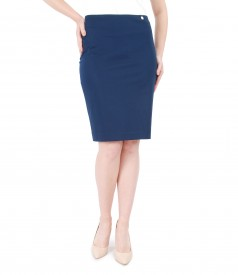Cotton pencil skirt with slit with zipper