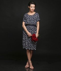 Printed viscose dress with elastic waist
