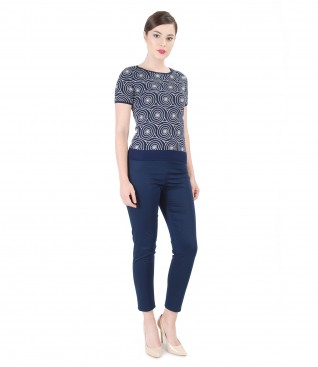 Embossed printed jersey blouse with pants