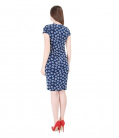 Printed jersey dress with V decolletage