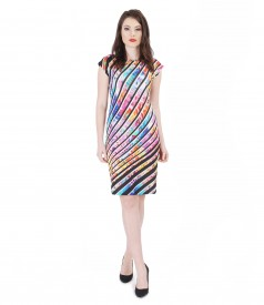Printed jersey dress with dropped shoulders