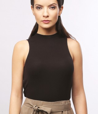 Velour jersey blouse without sleeves