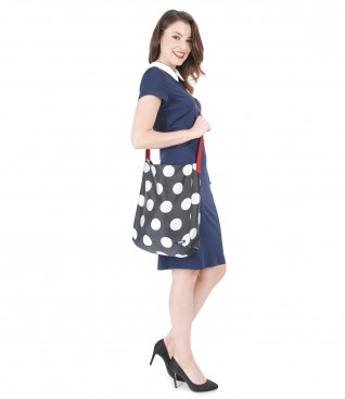 Dress with bag printed with dots