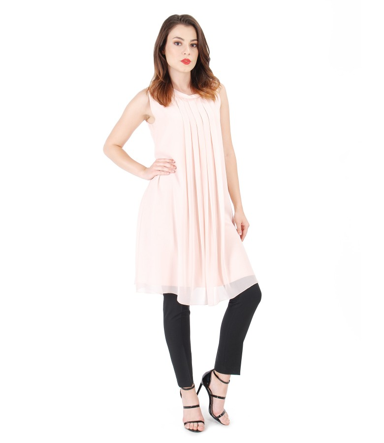 Casual veil dress with pants