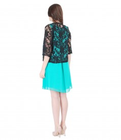 Brocade organza bolero with casual veil dress