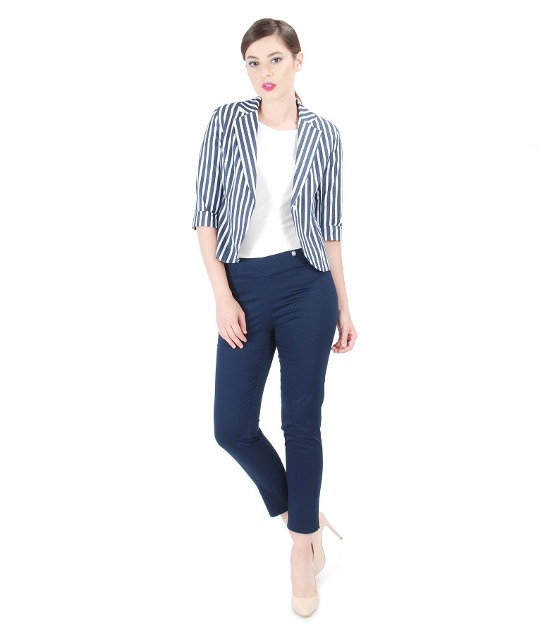 Elegant outfit with printed with stripes cotton jacket and pants