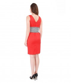 Textured cotton dress with printed with stripes belt