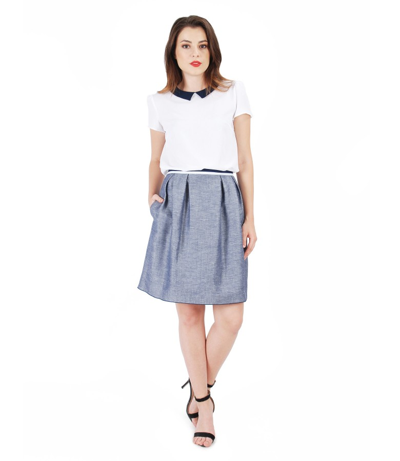 Casual outfit with flax skirt and veil blouse - YOKKO