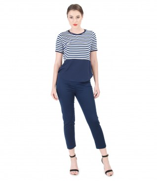Casual outfit with elastic jersey with stripes blouse and pants