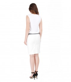 Elegant outfit with cotton pencil skirt and jersey blouse