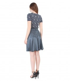 Printed jersey blouse with flaring skirt