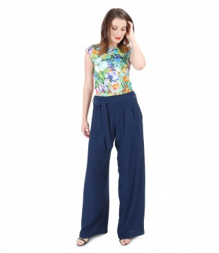 Printed jersey t-shirt with viscose large pants