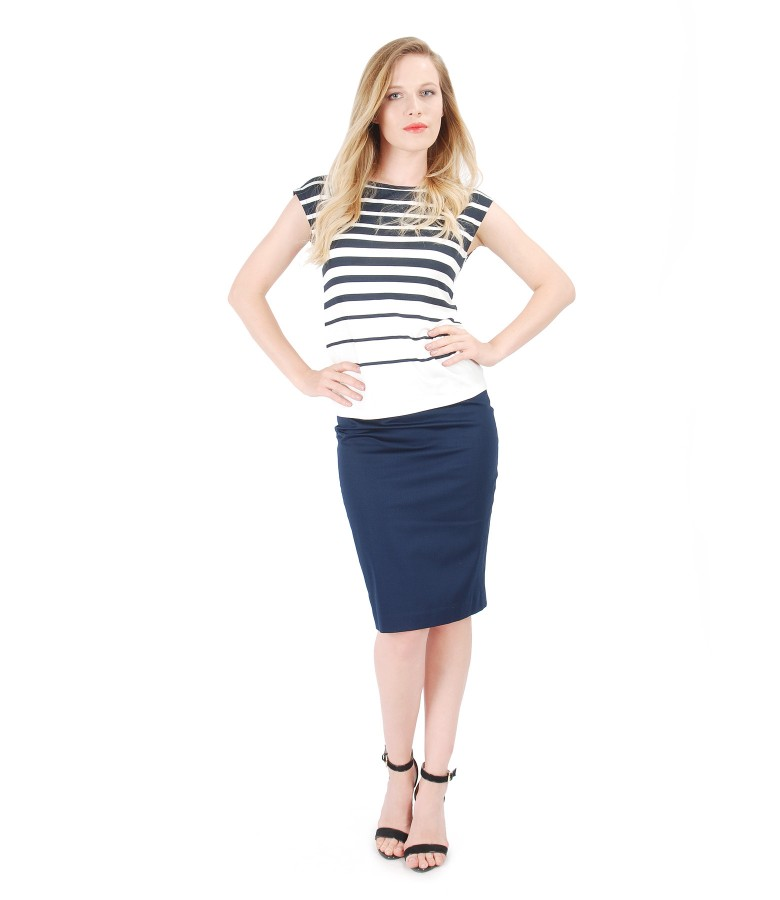 Elegant outfit with printed with stripes jersey blouse and pencil skirt
