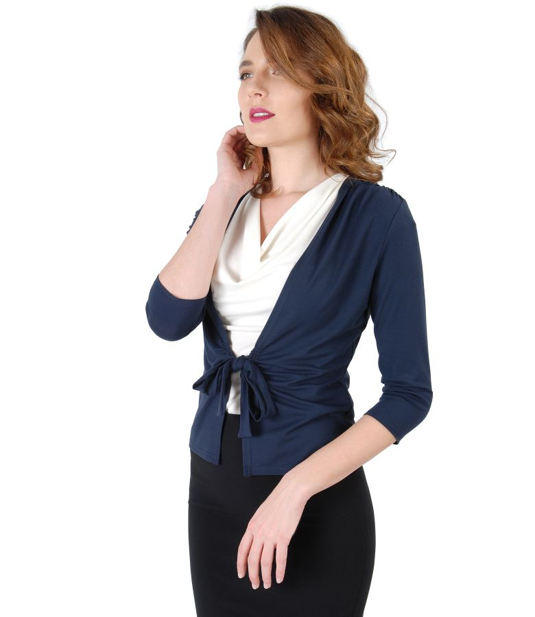 Dark blue jersey blouse tied with cord