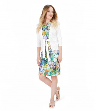 Elegant outfit with printed jersey dress and blouse with waist belt