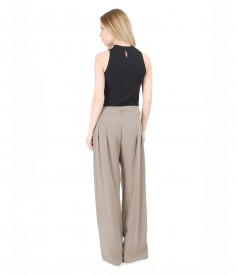 Velour jersey blouse without sleeves with viscose large pants