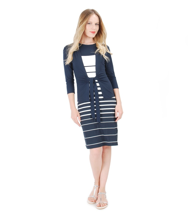 Printed with stripes jersey dress and blouse with waist belt