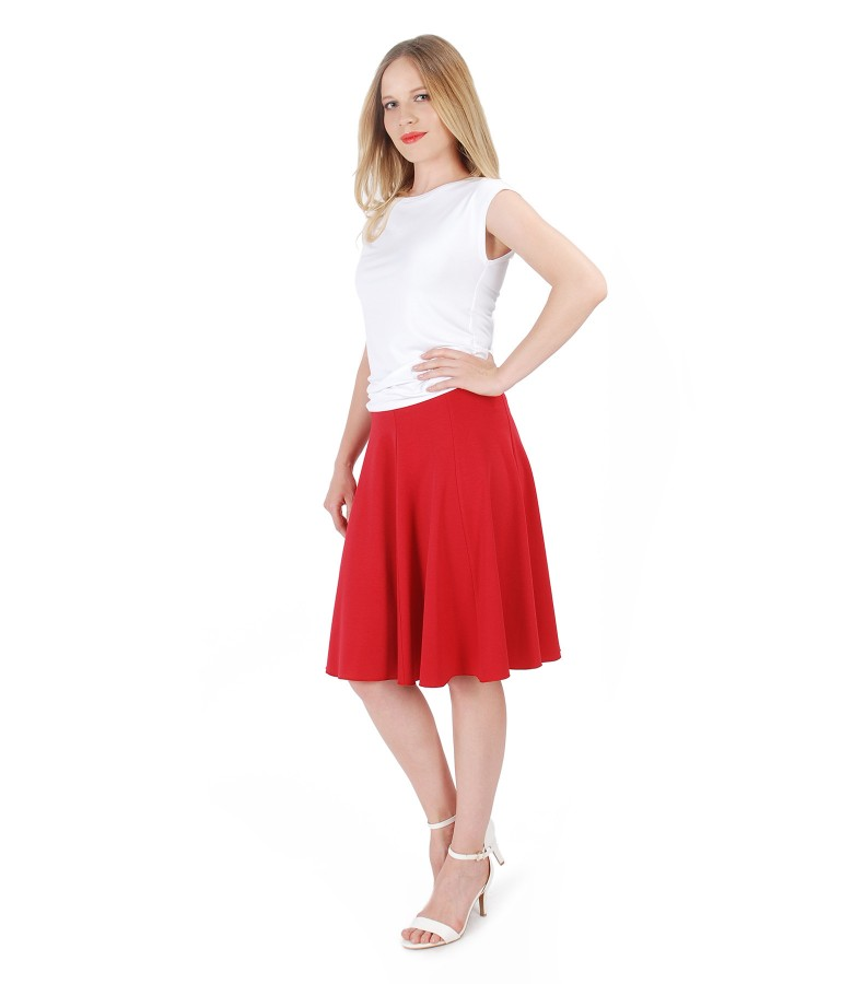 Uni jersey t-shirt with flaring viscose skirt