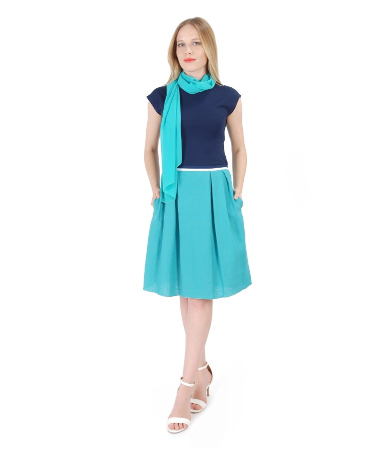 Casual outfit with uni jersey blouse and flax skirt
