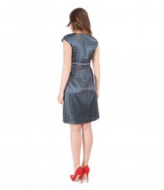 Flaring satin dress printed with dots