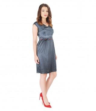 Flaring satin dress printed with dots