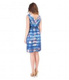 Evening organza dress with waist belt