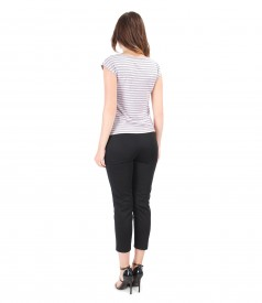 Casual outfit with pants and jersey blouse with stripes