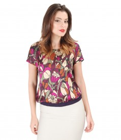 Elastic jersey blouse with printed viscose front