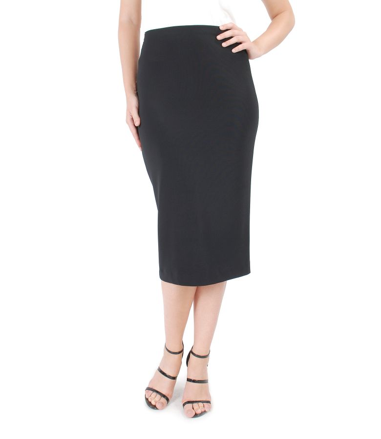 Thick elastic jersey pencil skirt