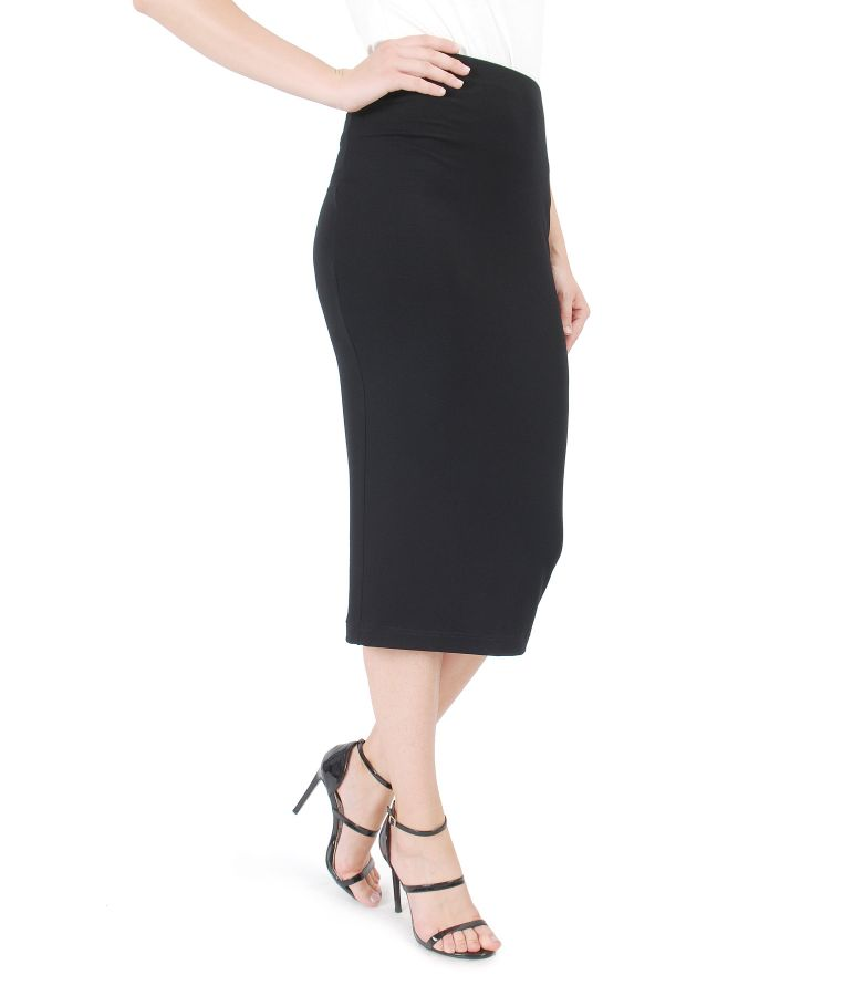 Elastic jersey pencil skirt