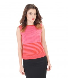 Printed jersey t-shirt with boat decolletage