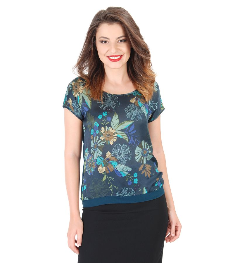 Elastic jersey blouse with printed silk front