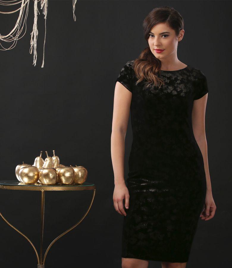 Elastic velvet short evening dress