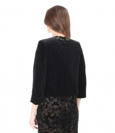 Black elastic velvet bolero with trim