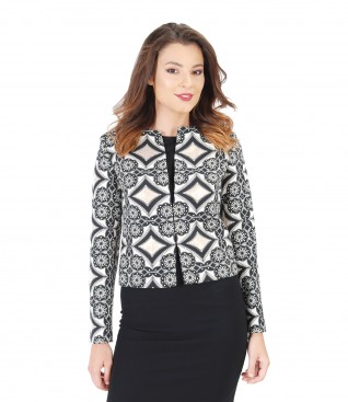 Brocade with cotton and effect thread elegant jacket