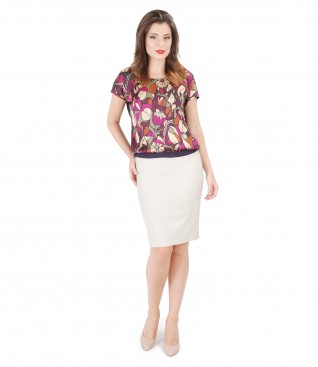 Blouse with printed viscose front and cotton conic skirt