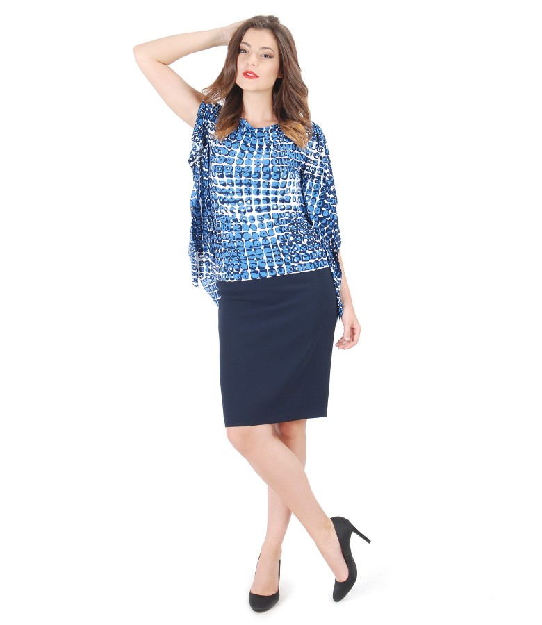 Butterfly printed jersey blouse with conic skirt