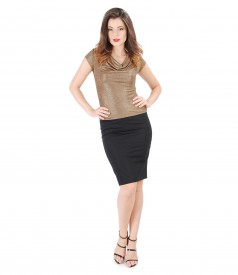 Elegant outfit with golden elastic jersey blouse and conic skirt