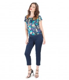 Blouse with printed viscose front and pants