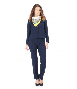 Office outfit with jacket with epaulettes and pants