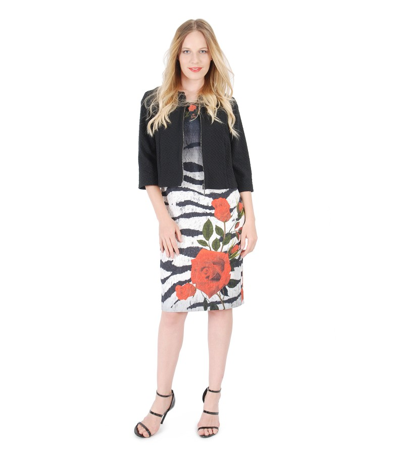 Dress with floral motifs and elastic brocade jacket